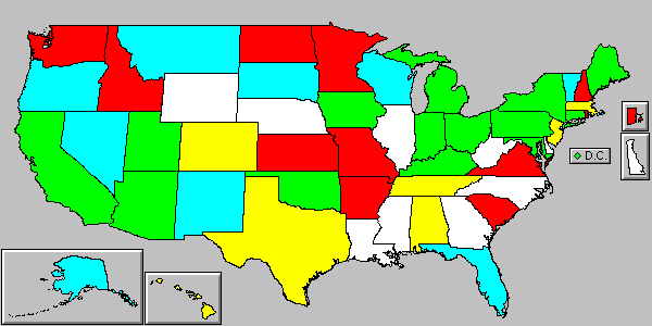 U.S. state map of local air pollution law authority.